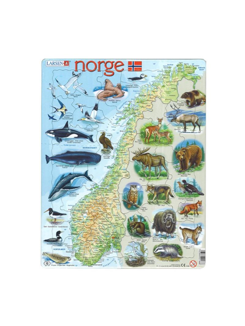Mapa Norska - puzzle se zvířaty