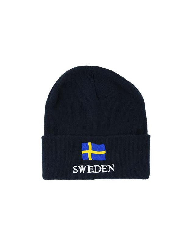 Pletená čepice NORWAY s vlajkou - černá