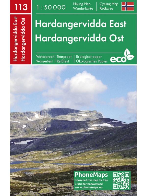 Hardangervidda západ - turistická mapa