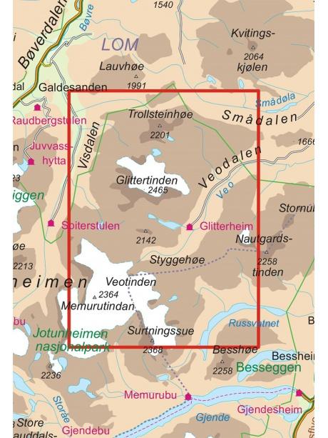 Glittertinden mapa