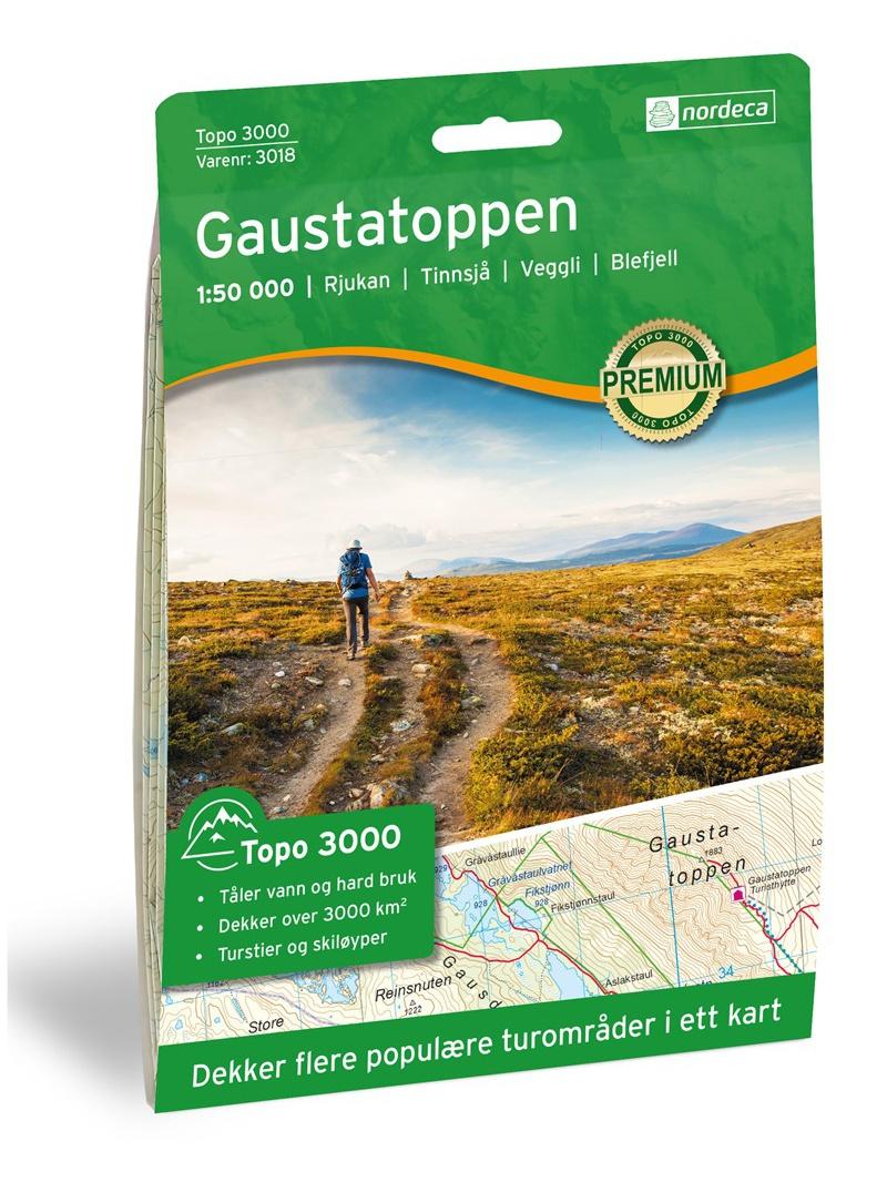 Gaustatoppen - mapa