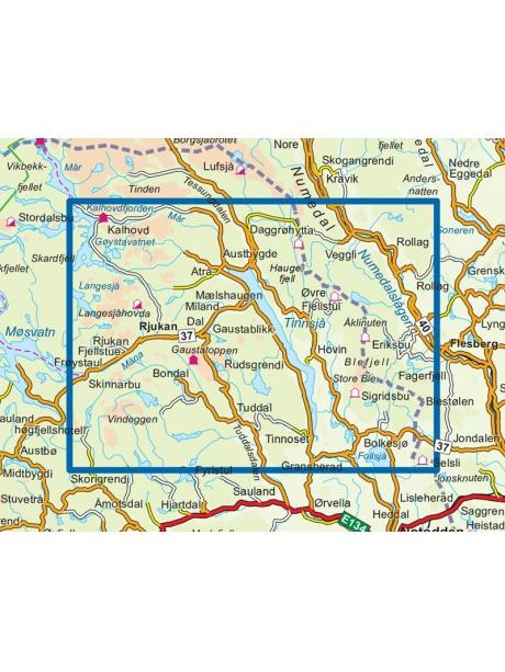 Přehled mapy Gaustatoppen