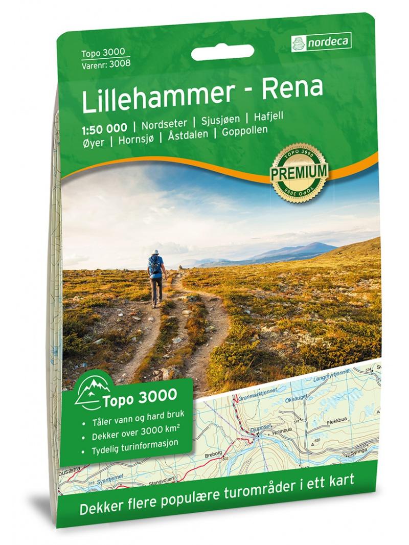Lillehammer - Rena - mapa