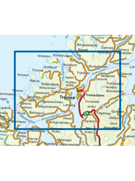 Přehled mapy Tromso - Kvaloya