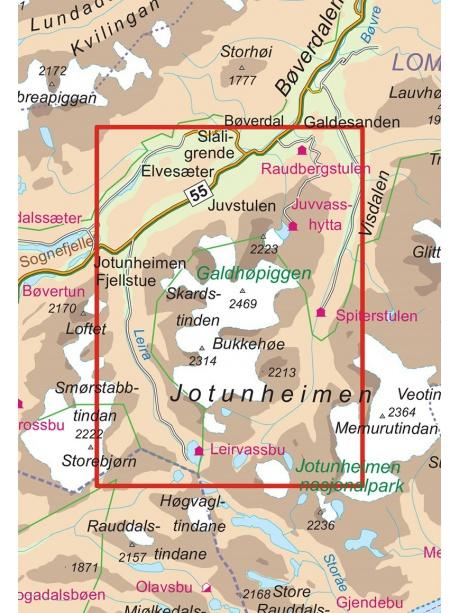 Galdhopiggen mapa