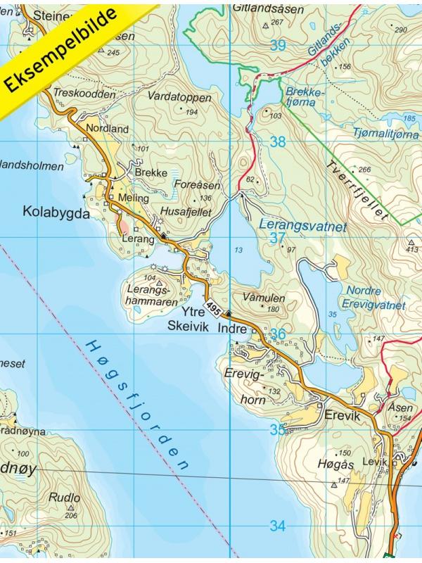 Lysefjorden detail mapy
