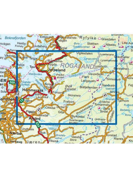 Přehled mapy Lysefjorden