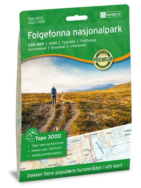 Folgefonna - turistická mapa