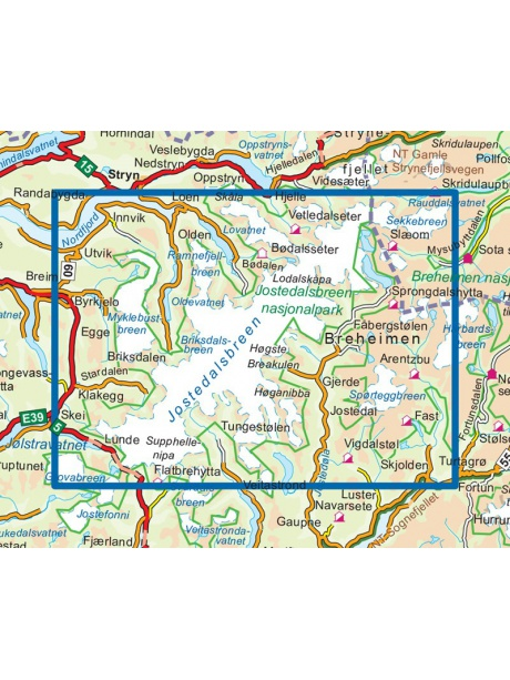 Přehled mapy Jostedalsbree