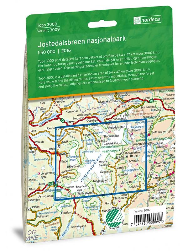 Jostedalsbreen - zadní strana obalu