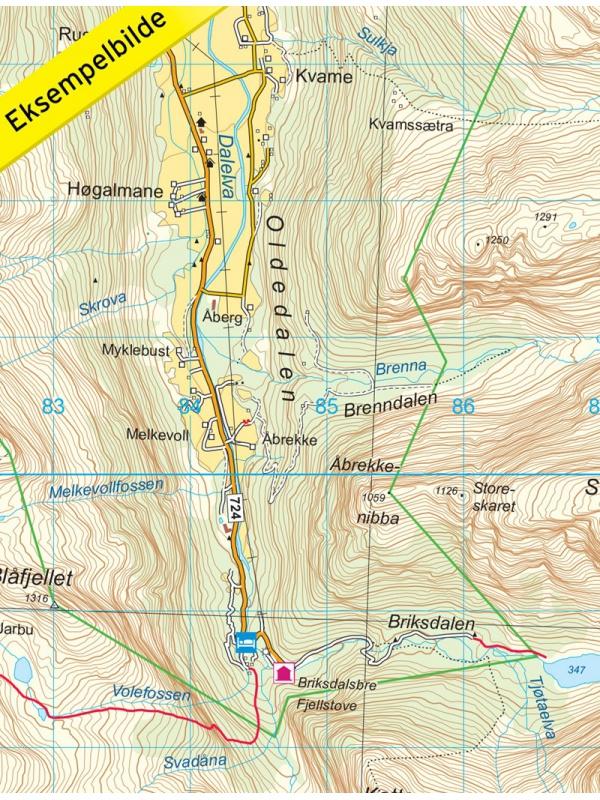 Jostedalsbreen detail mapy