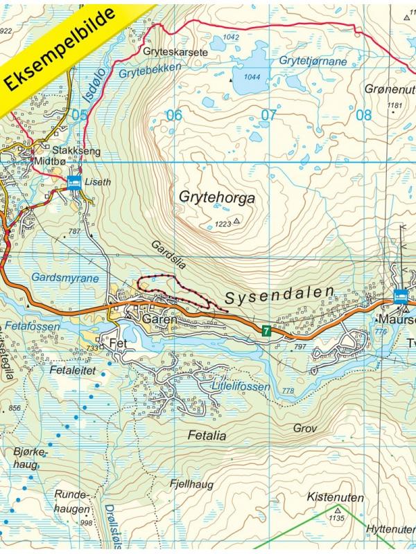 Hardangervidda - detail mapy
