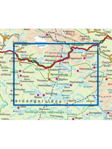 Přehled mapy Hardangervidda