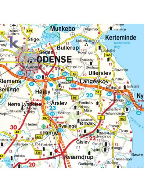 Mapa Dánsko detail