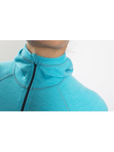 Classic Wool Hoodes sweater -detail aqua