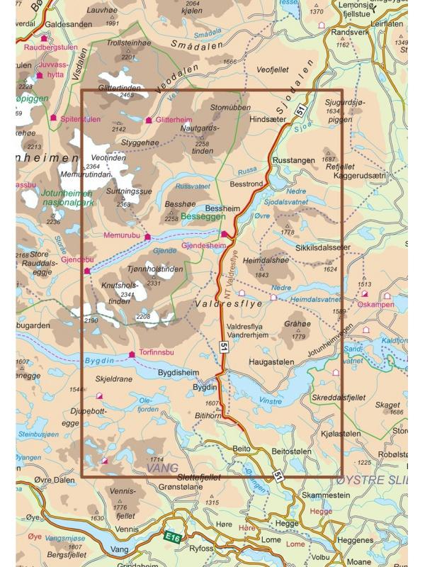 Valdresflye mapa